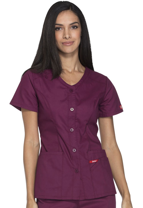 Dickies Dickies EDS Signature Women's Button Front V-Neck Top Red
