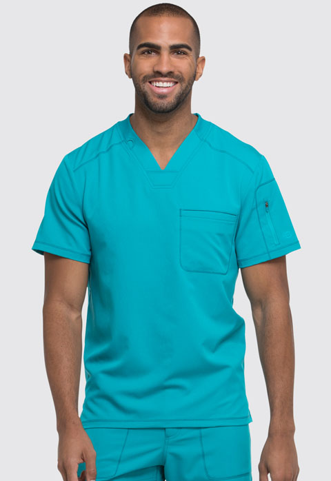 Dickies Dynamix Men's V-Neck Top in Teal Blue