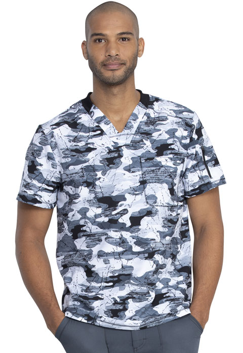 Dickies Dickies Dynamix Men's V-Neck Top in Stone Cold Camo Pewter