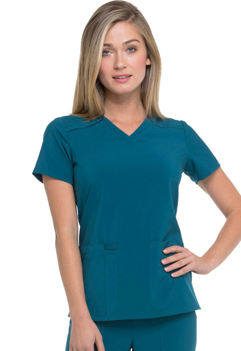 Dickies EDS Essentials V-Neck Top in Caribbean Blue