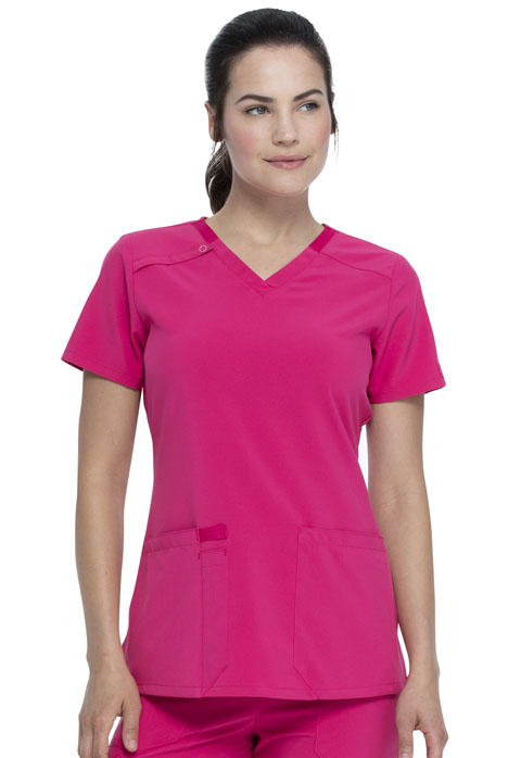 Dickies Every Day EDS Essentials V-Neck Top in Hot Pink
