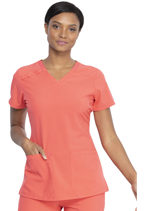 Dickies Every Day EDS Essentials V-Neck Top in Papaya Punch