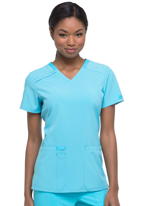 Dickies EDS Essentials V-Neck Top in Turquoise