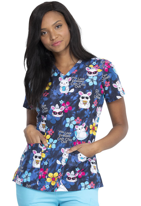 Dickies Dickies Prints V-Neck Top in Chilling Chinchillas