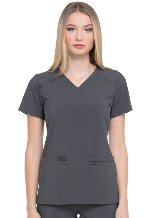 Dickies EDS Essentials Mock Wrap Top in Pewter