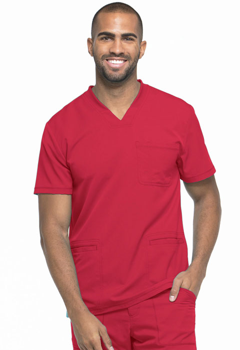 Dickies Dynamix Men's V-Neck Top in Red