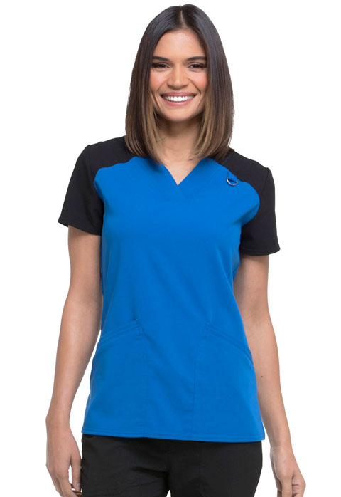 Dickies Xtreme Stretch Contrast V-Neck Top in Royal