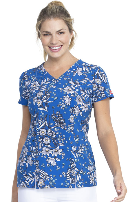 Dickies Dickies Prints V-Neck Top in Bright Like A Daisy