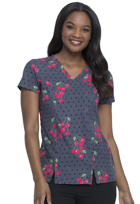 Dickies Dickies Prints V-Neck Top in Very Cherry