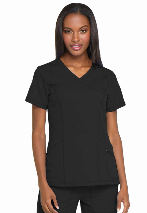 Dickies Dynamix Mock Wrap Top in Black