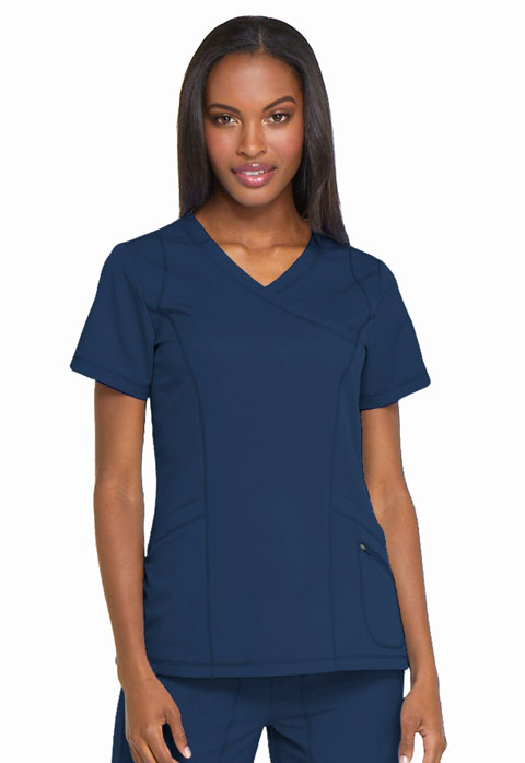 Dickies Dynamix Mock Wrap Top in Navy
