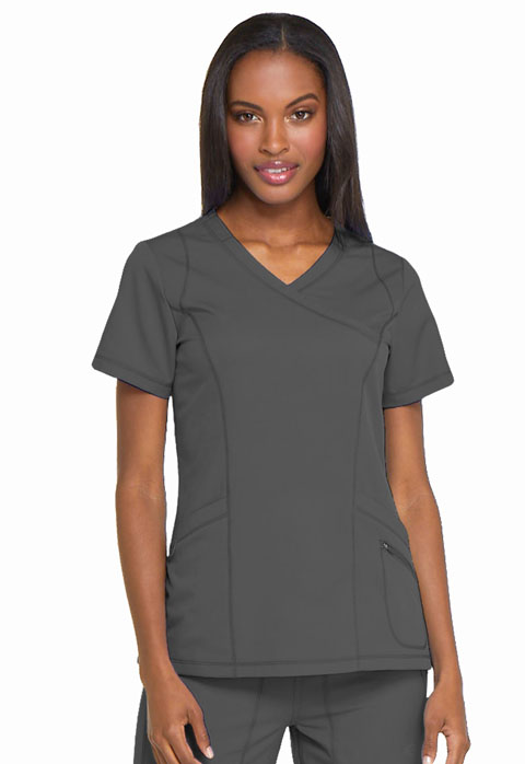 Dickies Dickies Dynamix Mock Wrap Top in Pewter