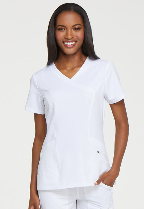 Dickies Dynamix Mock Wrap Top in White