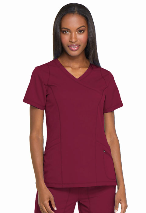 Dickies Dynamix Mock Wrap Top in Wine