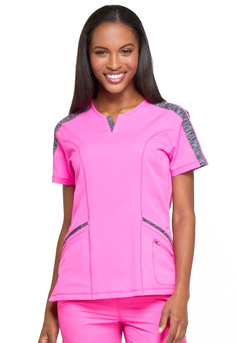 Dickies Dynamix Women's Shaped V-Neck Top Pink