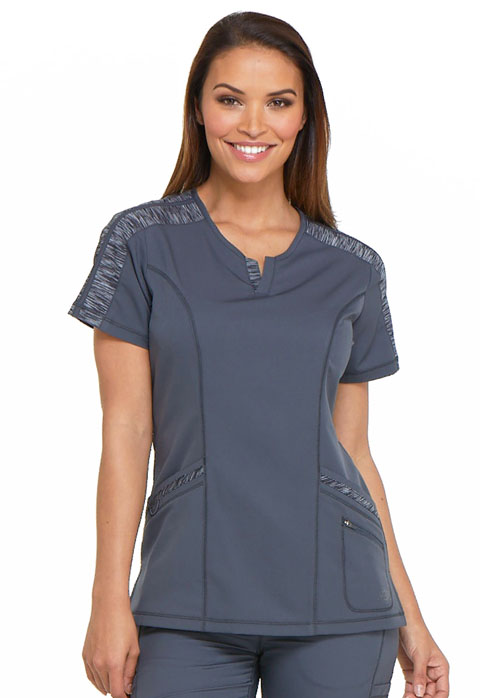 Dickies Dynamix Shaped V-Neck Top in Pewter