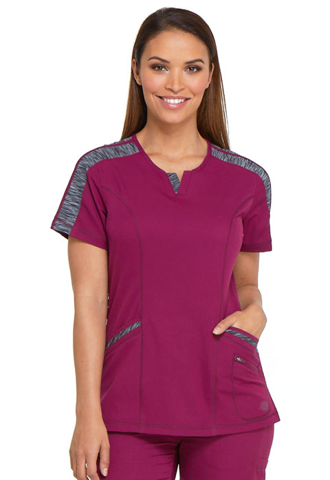 Dickies Dynamix Shaped V-Neck Top in Wine