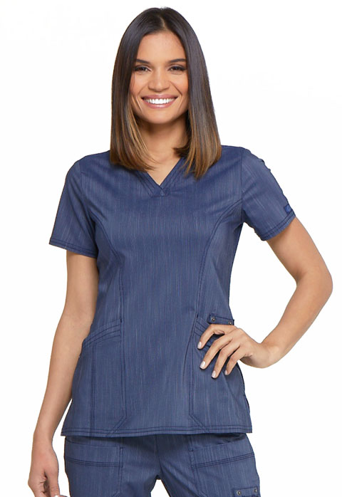 Dickies Advance V-Neck Top in D Navy Twist