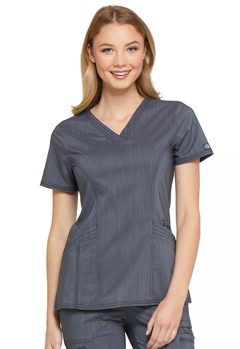Dickies Advance V-Neck Top in Pewter Twist