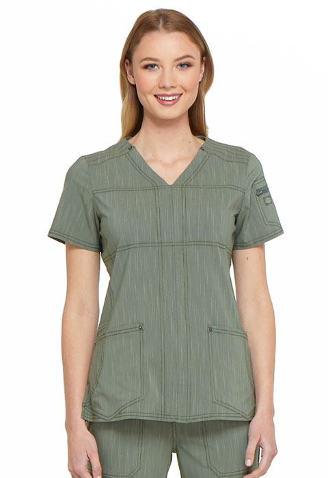 Dickies Advance V-Neck Top in Olive Twist