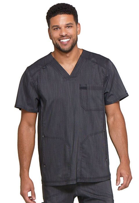 Dickies Advance Men's V-Neck 3 Pocket Top in Onyx Twist