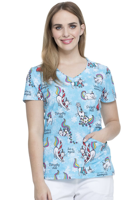Dickies Dickies Prints V-Neck Top in Cool Caticorn