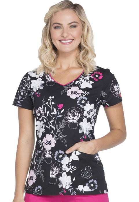 Dickies Dickies Prints Women's V-Neck Top Petal Persuasion