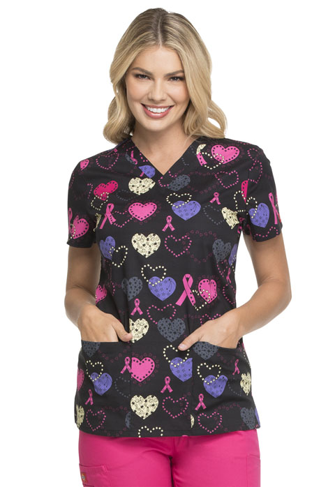 Dickies Dickies Prints V-Neck Top in Cosmic Caring