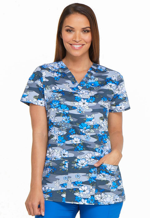 Dickies Prints Women's V-Neck Top Floral Fleet