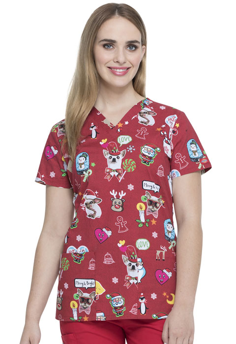 Dickies Dickies Prints V-Neck Top in Hello Christmas