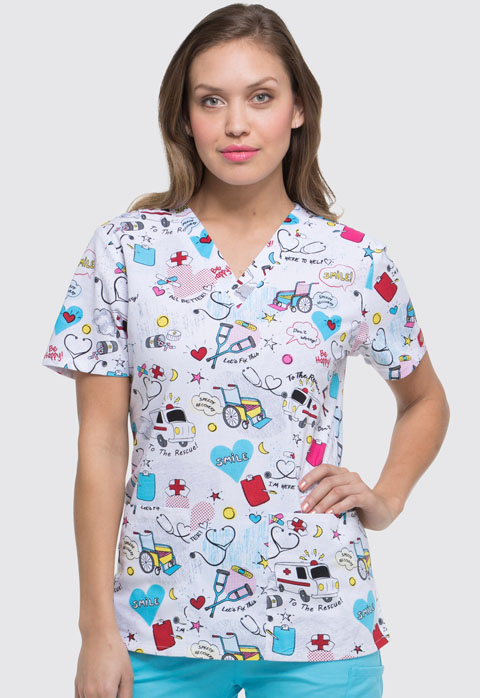 Dickies Dickies Prints Women's V-Neck Top To The Rescue