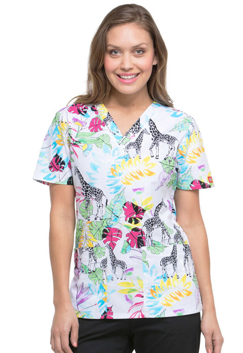 Dickies Prints Women's V-Neck Top Wild Jungle