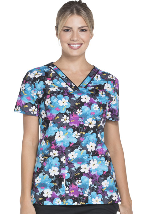 Dickies Dickies Prints Women's V-Neck Top Doodle And Daisies