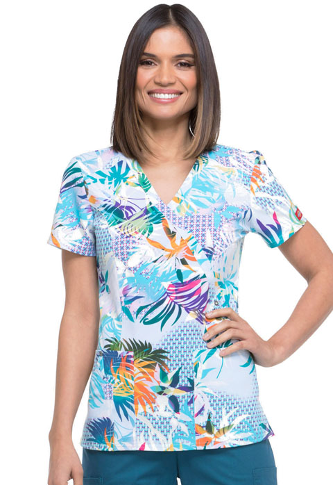 Dickies Prints Women's Mock Wrap Top 5 O'clock Somewhere
