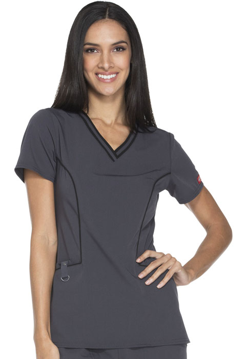Xtreme Stretch Women's V-Neck Top Gray