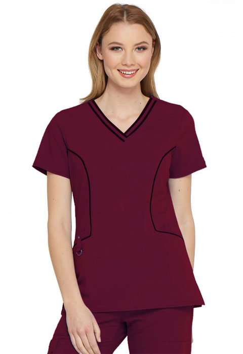 Xtreme Stretch Women Contrast Piping V-Neck Top Red