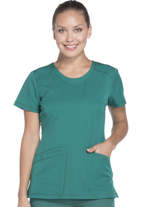 Dickies Dynamix Rounded V-Neck Top in Hunter Green