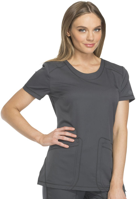 Dickies Dynamix Rounded V-Neck Top in Pewter