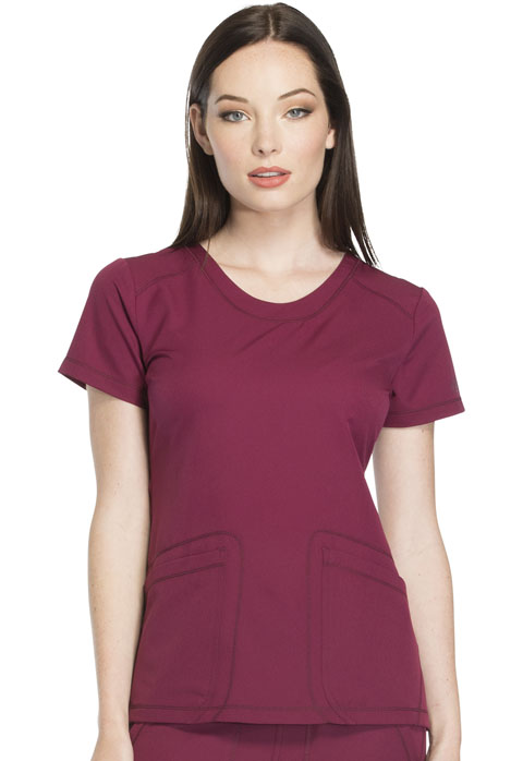 Dickies Dynamix Rounded V-Neck Top in Wine