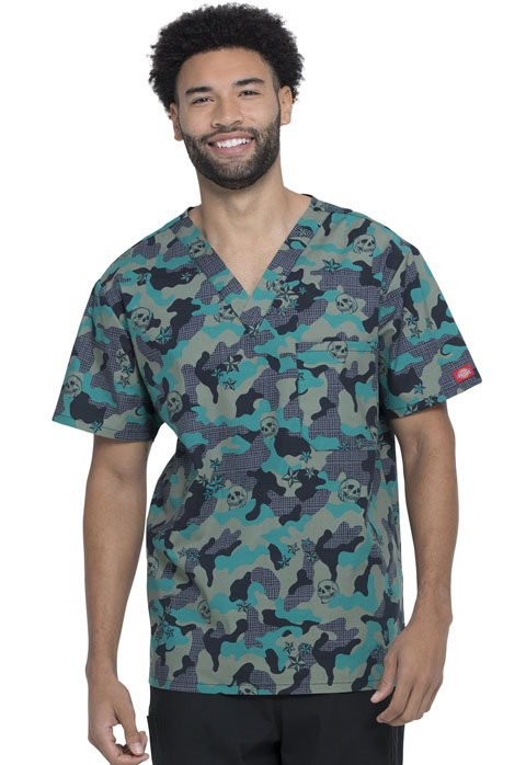 Dickies Dickies Prints Men's V-Neck Top in Crosshatch Camo