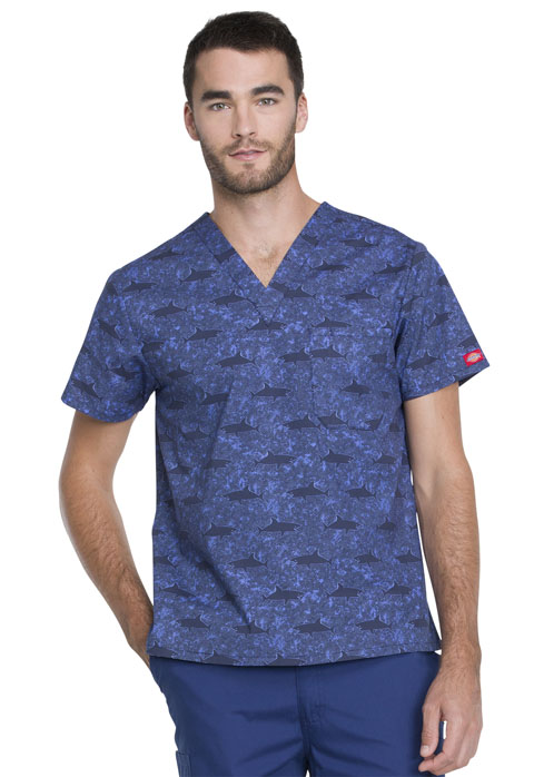 Dickies Dickies Prints Men's V-Neck Top in Shark Week
