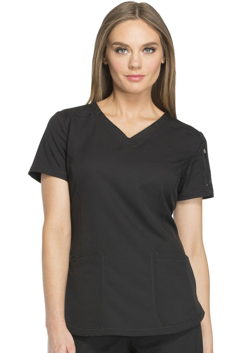 Dickies Dynamix V-Neck Top in Black