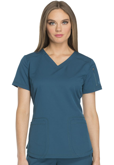 Dickies Dynamix V-Neck Top in Caribbean Blue