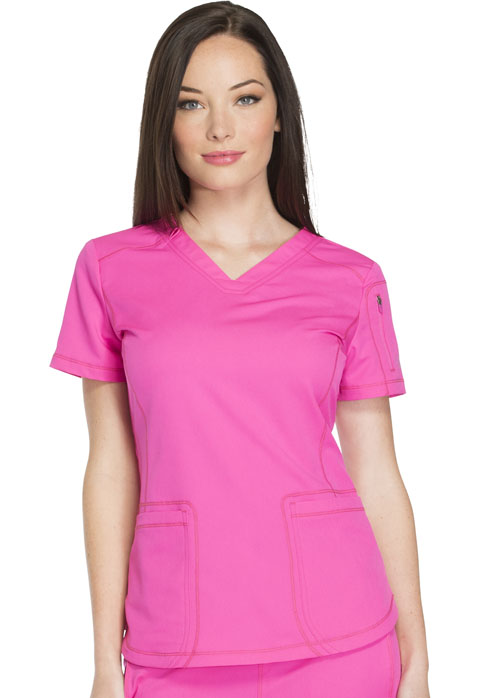 Dickies Dynamix Women's V-Neck Top Pink