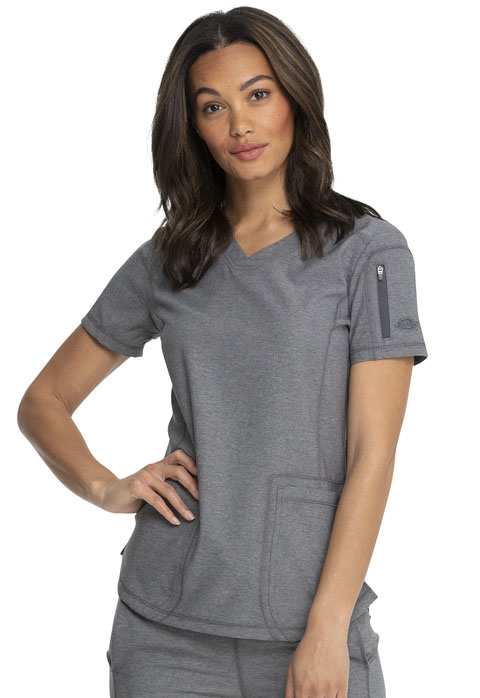Dickies Dickies Dynamix V-Neck Top in Heather Grey