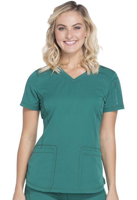 Dickies Dynamix V-Neck Top in Hunter Green