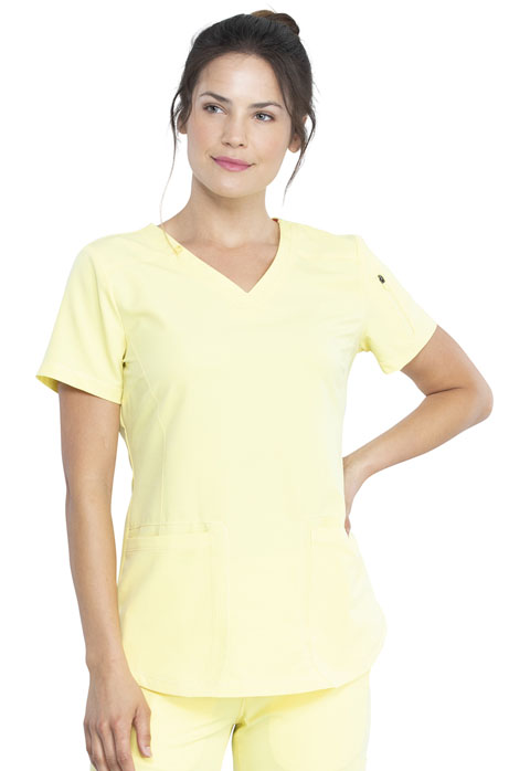 Dickies Dickies Dynamix V-Neck Top in Lemon Twist