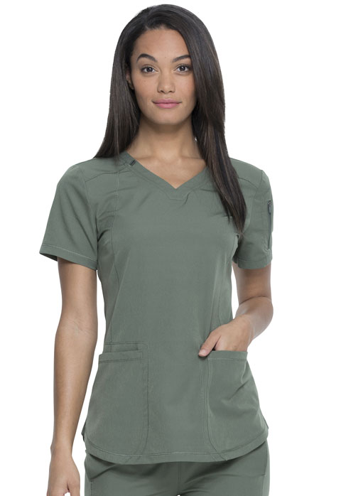 Dickies Dickies Dynamix V-Neck Top in Olive
