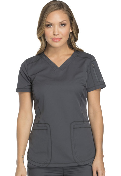 Dickies Dynamix Women V-Neck Top Gray