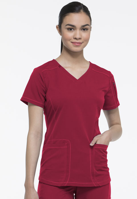 Dickies Dynamix V-Neck Top in Red